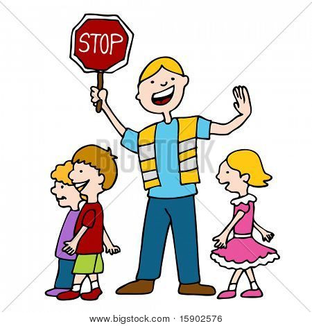 An image of a crossing guard with children.