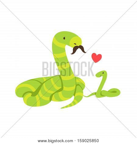 Boa Snake Dad With Moustache Animal Parent And Its Baby Calf Parenthood Themed Colorful Illustration With Cartoon Fauna Characters. Smiling Zoo Wildlife Loving Family Members United With Heart Symbol Vector Drawing