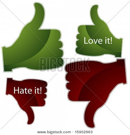 An image of a thumbs up and down approval icons