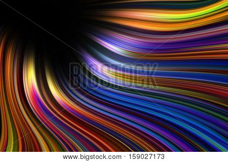 A colorful wavy and curved light trails background
