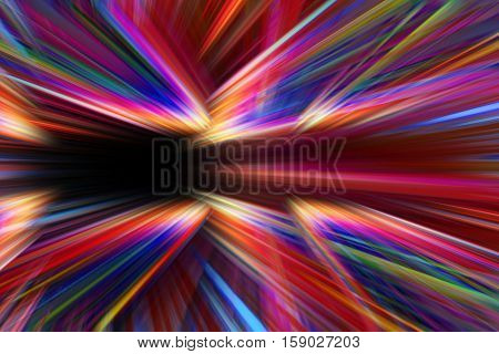 A colourful abstract light trails background on black