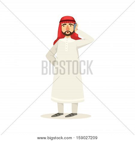 Arabic Muslim Businessman Dressed In Traditional Thwab Clothes And Wearing Headdress Kufiya Speaking On The Phone Working In Financial Business Sphere. Cartoon Arab Rich Sheikh Character In Islamic Outfit Flat Vector Illustration.
