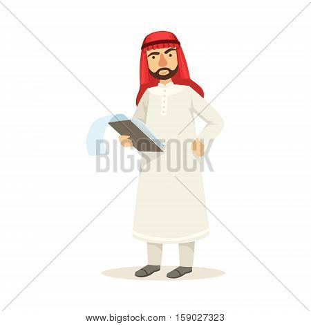 Arabic Muslim Businessman Dressed In Traditional Thwab Clothes And Wearing Headdress Kufiya Working In Financial Business Sphere Checking The Files. Cartoon Arab Rich Sheikh Character In Islamic Outfit Flat Vector Illustration.