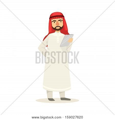 Arabic Muslim Businessman Dressed In Traditional Thwab Clothes And Wearing Headdress Kufiya Working In Financial Business Sphere Studying Materials On Clipboard. Cartoon Arab Rich Sheikh Character In Islamic Outfit Flat Vector Illustration.