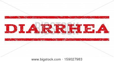 Diarrhea watermark stamp. Text caption between horizontal parallel lines with grunge design style. Rubber seal stamp with dirty texture. Vector red color ink imprint on a white background.