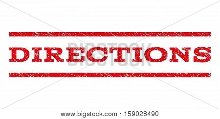 Directions watermark stamp. Text caption between horizontal parallel lines with grunge design style. Rubber seal stamp with scratched texture. Vector red color ink imprint on a white background.