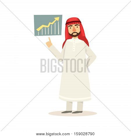 Arabic Muslim Businessman Dressed In Traditional Thwab Clothes And Wearing Headdress Kufiya Working In Financial Business Sphere Making Presentation. Cartoon Arab Rich Sheikh Character In Islamic Outfit Flat Vector Illustration.