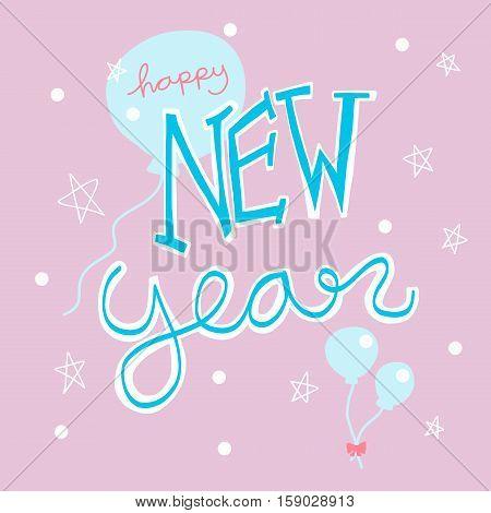 Happy New Year handwriting word illustration on pink bankground