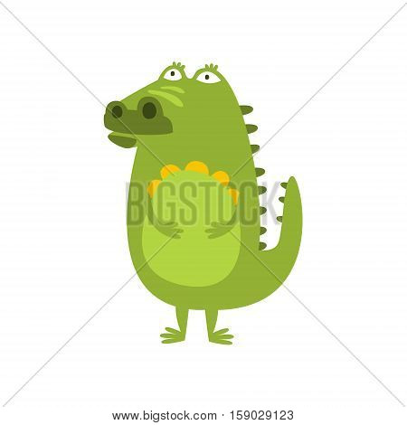 Crocodile Standing Daydreaming And Thinking Flat Cartoon Green Friendly Reptile Animal Character Drawing. Part Of Alligator And Its Different Positions And Activities Collection Of Childish Fauna Colorful Vector Illustrations.