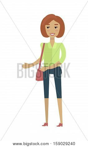 Young european woman in green blouse and blue breeches with leather bag. Caucasian beautiful girl. Attractive teenager lady in casual clothes. Part of series of people of the world. Vector illustration