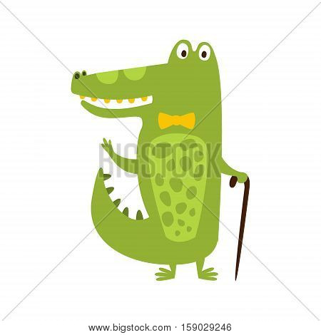 Crocodile With Bow Tie And Cane Flat Cartoon Green Friendly Reptile Animal Character Drawing. Part Of Alligator And Its Different Positions And Activities Collection Of Childish Fauna Colorful Vector Illustrations.