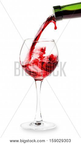 Red wine pouring into the glass isolated on white background