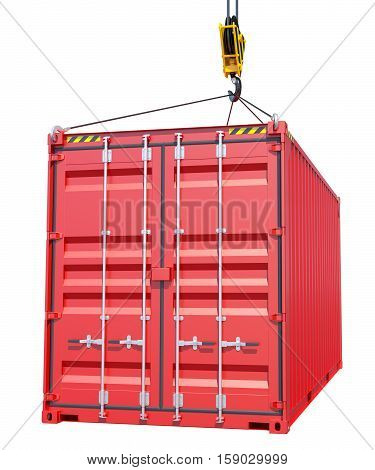 Crane hook and red cargo container on white background. 3D rendering
