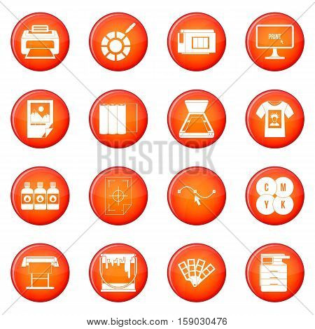 Printing icons vector set of red circles isolated on white background