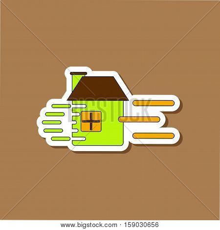 paper sticker on stylish background of wind destroys house