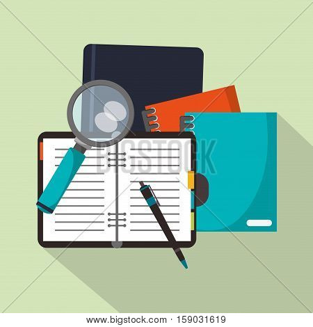 Notebook and lupe icon. Worktime office supplies and workforce theme. Colorful design. Vector illustration