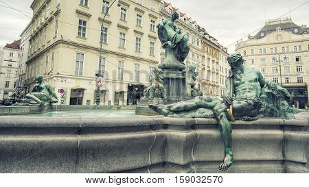 VIENNA, AUSTRIA, JULY 3,2016: Detail from Donnerbrunnen Fountain at Neuer Markt place, Vienna, Austria