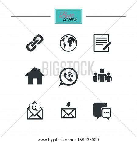 Communication icons. Contact, mail signs. E-mail, call phone and group symbols. Black flat icons. Classic design. Vector
