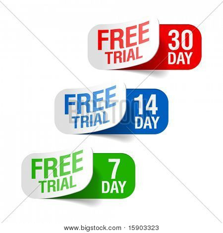 Free trial signs. Vector.