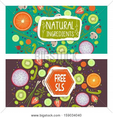 Free SLS horizontal flyers set vector illustration. Vegetarian, gmo free, fresh and natural, vegan, raw food, gluten free, healthy lifestyle, bio and eco nutrition concept. Fruits and vegetables.