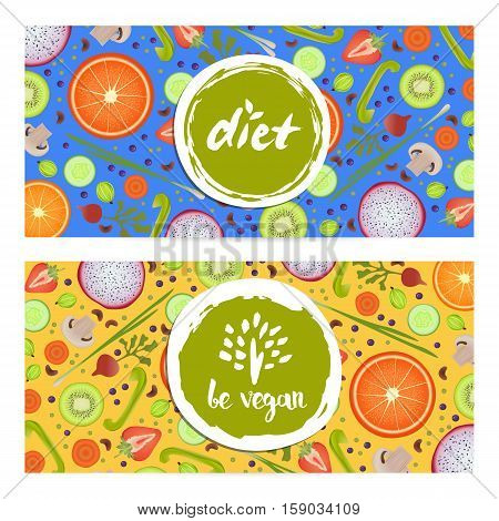 Healthy vegan diet horizontal flyers set vector illustration. Natural fruits and vegetables colorful background. Vegetarian organic raw food, healthy lifestyle, best quality, bio and eco nutrition