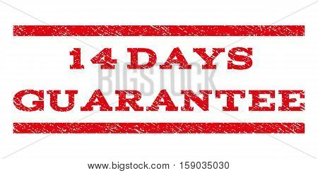 14 Days Guarantee watermark stamp. Text caption between horizontal parallel lines with grunge design style. Rubber seal stamp with dust texture. Vector red color ink imprint on a white background.