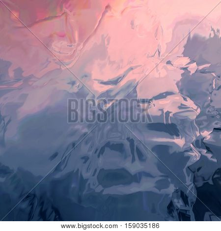 Background of glitch manipulations with 3D effect. Abstract flow of crystals with glass texture in pink and blue shades. It can be used for web design and visualization of music