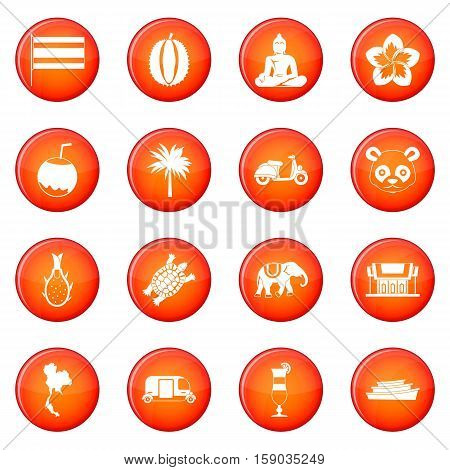Taiwan icons vector set of red circles isolated on white background