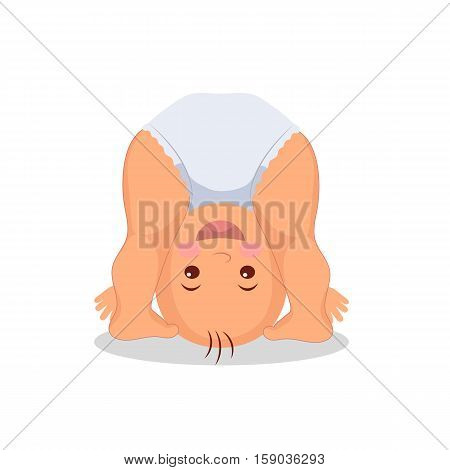 Baby playing standing on his head. Little child playing upside down. Isolated baby on the white background. Raster copy.