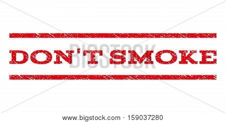 Don'T Smoke watermark stamp. Text tag between horizontal parallel lines with grunge design style. Rubber seal stamp with scratched texture. Vector red color ink imprint on a white background.
