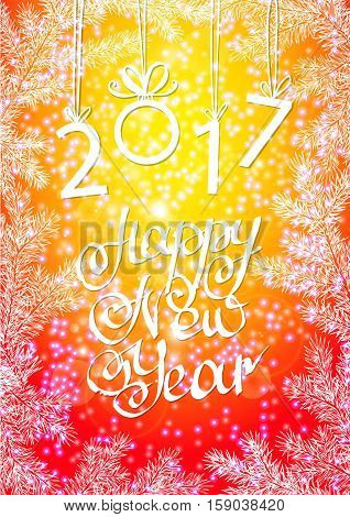 inscription 2017 and a happy new year. Hand lettering.