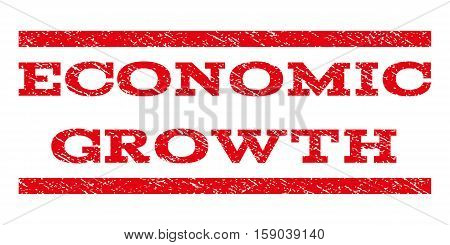 Economic Growth watermark stamp. Text tag between horizontal parallel lines with grunge design style. Rubber seal stamp with dirty texture. Vector red color ink imprint on a white background.