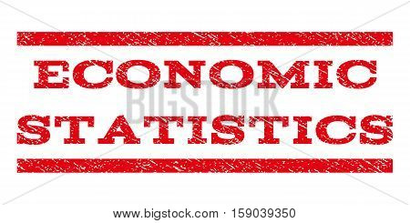 Economic Statistics watermark stamp. Text tag between horizontal parallel lines with grunge design style. Rubber seal stamp with dust texture. Vector red color ink imprint on a white background.