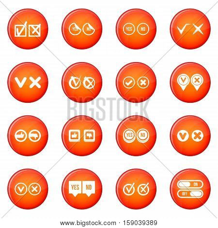 Check mark icons vector set of red circles isolated on white background