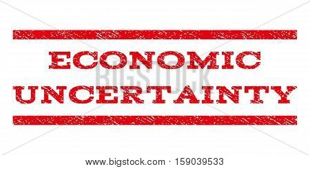 Economic Uncertainty watermark stamp. Text caption between horizontal parallel lines with grunge design style. Rubber seal stamp with dust texture. Vector red color ink imprint on a white background.