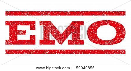 Emo watermark stamp. Text tag between horizontal parallel lines with grunge design style. Rubber seal stamp with scratched texture. Vector red color ink imprint on a white background.