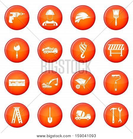 Construction icons vector set of red circles isolated on white background