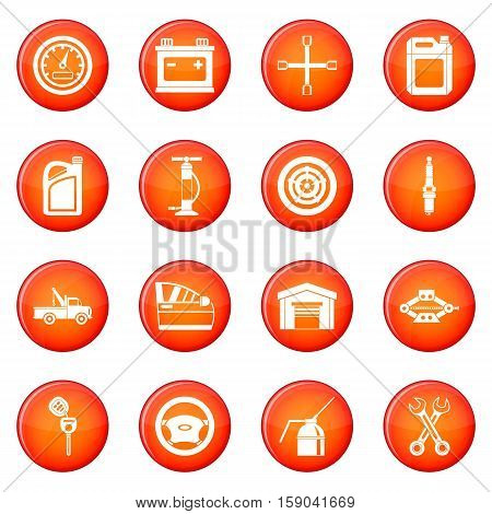Car maintenance and repair icons vector set of red circles isolated on white background