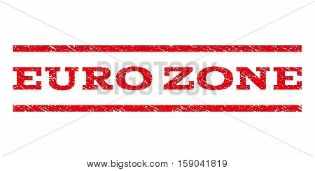 Euro Zone watermark stamp. Text caption between horizontal parallel lines with grunge design style. Rubber seal stamp with unclean texture. Vector red color ink imprint on a white background.