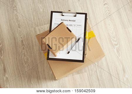 Carton boxes on floor