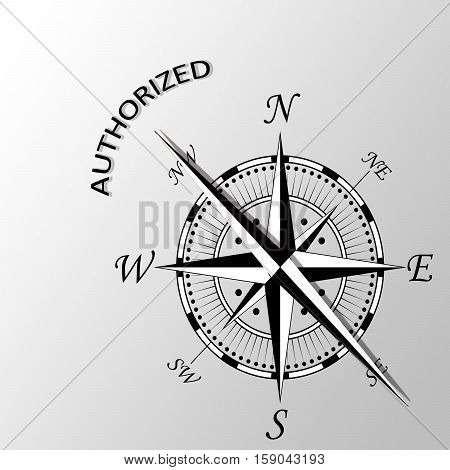 Illustration of authorized word written aside compass