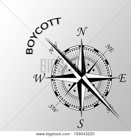 Illustration of boycott word written aside compass