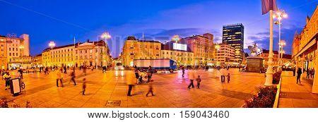 Zagreb Central Square Evening Panorama