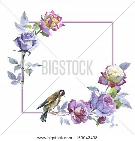 Wildflower rose flowera d bird frame in a watercolor style isolated.