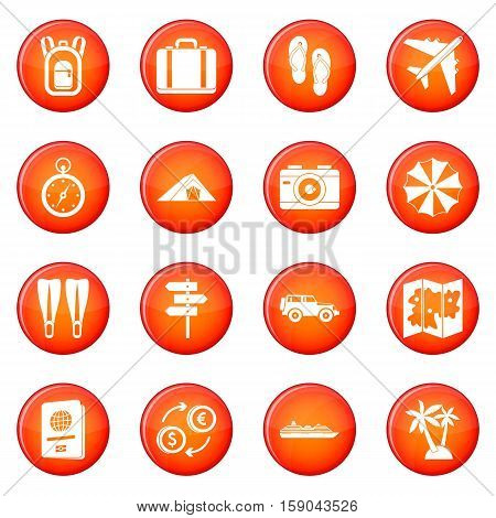 Travel icons vector set of red circles isolated on white background