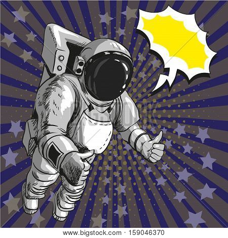 Vector illustration of astronaut in outer space in retro pop art comic style. Man in space suit and helmet. He is showing thumb up hand sign on both hands.