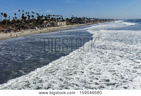 Day along coastal Oceanside a tourist destination in San Diego,California, USA