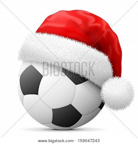 Soccer ball in red Santa Claus hat. Christmas hat is put on association football ball. Vector illustration for christmas soccer new years day sport decoration new years eve winter holiday etc