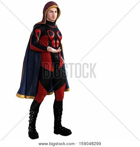 One young man in a super suit and a red cloak. He stands half turned to the camera and right arm, opened his hand. 3D rendering, 3D illustration