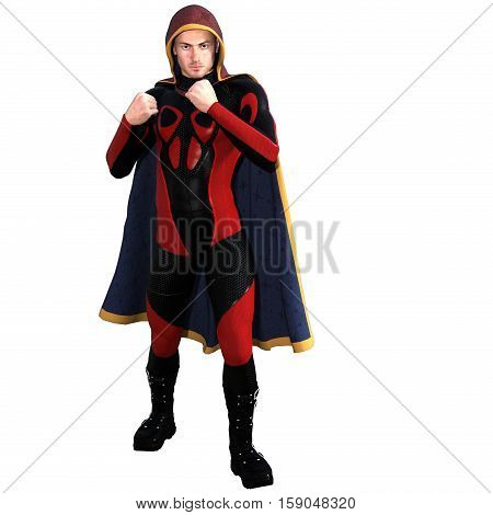 One young man in a super suit and a red cloak. He's standing in a classic Boxing pose with their hands. 3D rendering, 3D illustration